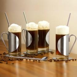 Ποτήρι για ιρλανδικό καφέ ή cocktail με κουταλάκι χερούλι & πιατάκι, σετ των 4