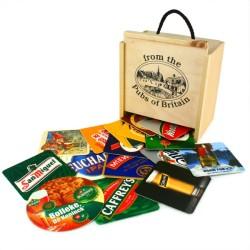 100 Σουβέρ για Μπουκάλια Μπύρας σε ξύλινο κουτί