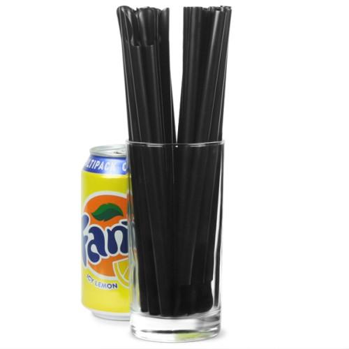 Καλαμάκια πλαστικά ίσια μαύρα με Κουτάλια στη βάση 20εκ - πακέτο με 200τμχ