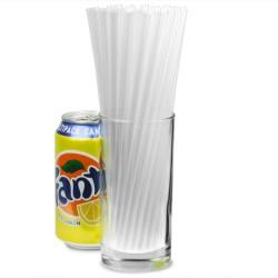 Καλαμάκια πλαστικά διάφανα ίσια Jumbo 20εκ πακέτο με 500τμχ