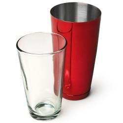 Επαγγελματικό Shaker Boston Κόκκινο από Ανοξείδωτο Ατσάλι με Ποτήρι 800ml