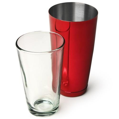 Επαγγελματικό Shaker Boston Κόκκινο από Ανοξείδωτο Ατσάλι με Ποτήρι 800ml ( Shakers )