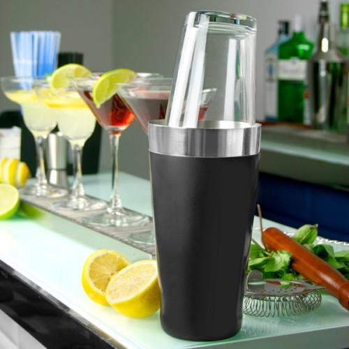 Επαγγελματικό Shaker Boston από Ανοξείδωτο Ατσάλι με κάλυμμα Βινυλίου με Ποτήρι 800ml ( Shakers )