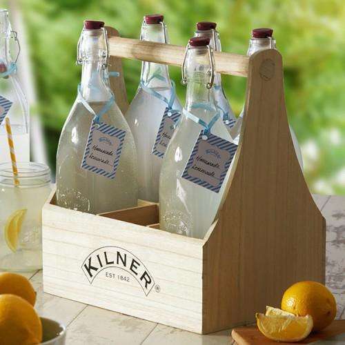 Vintage Ξύλινη Θήκη 6 Μπουκαλιών Kilner ( Μπουκάλια )
